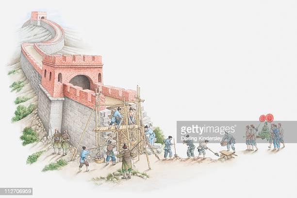 ilustraciones, imágenes clip art, dibujos animados e iconos de stock de illustration of construction of great wall of china - granmurallachina