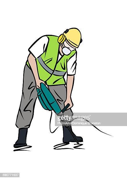illustration of construction worker using jackhammer - helmet stock illustrations