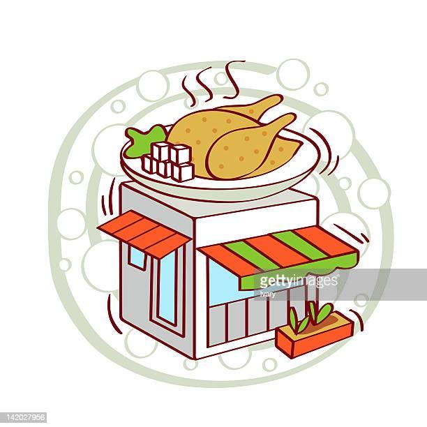 ilustraciones, imágenes clip art, dibujos animados e iconos de stock de illustration of cooked chicken in plate on restaurant top - pollo asado
