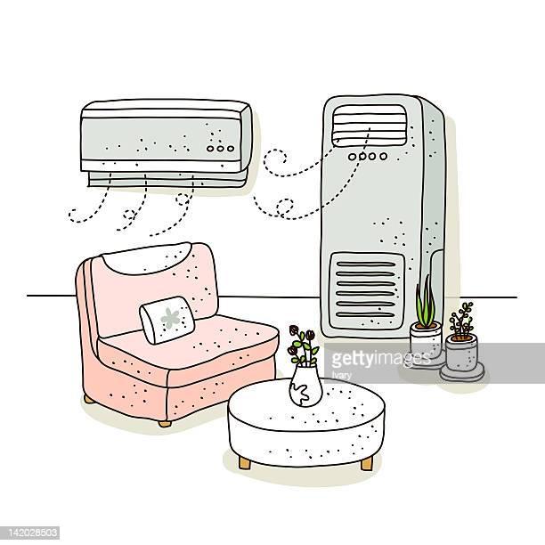 ilustrações de stock, clip art, desenhos animados e ícones de illustration of cooler and air conditioner - planta de vaso