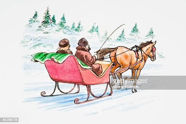 illustration of couple in horsedrawn sledge in snow - pferdeantrieb stock-grafiken, -clipart, -cartoons und -symbole