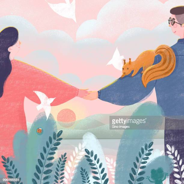 Illustration of couple in love holding hands during spring with animals