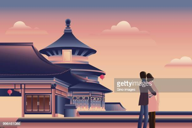illustration of couple in love near temple of heaven at sunset - temple of heaven stock illustrations