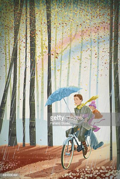 illustration of couple riding bicycle in forest - sleeveless stock illustrations, clip art, cartoons, & icons