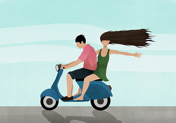Illustration of couple riding on motor scooter against sky