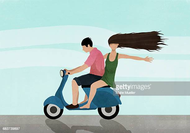 illustration of couple riding on motor scooter against sky - journey stock illustrations