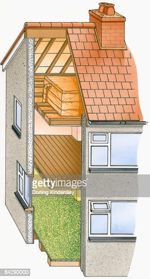 Illustration Of Cross Section Of House Showing Insulation
