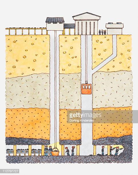 Illustration of cross-section through a coal mine