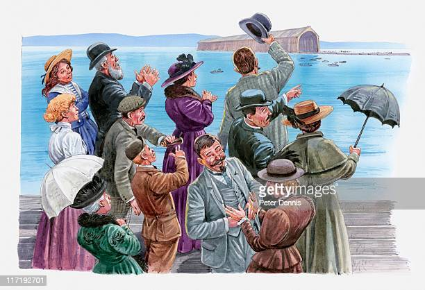 illustration of crowd of people standing at edge of lake constance clapping and cheering at launch of zeppelin airship, 1900 - 1900 1909 stock illustrations