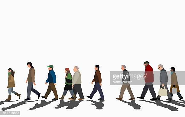 ilustraciones, imágenes clip art, dibujos animados e iconos de stock de illustration of crowd walking on street against clear sky - perfil vista de costado