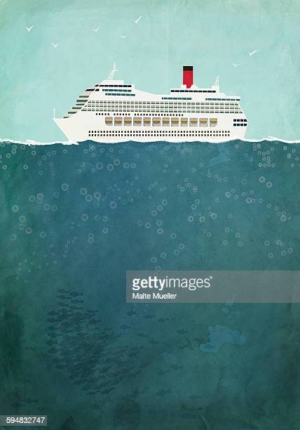 illustration of cruise ship sailing on sea - journey stock illustrations