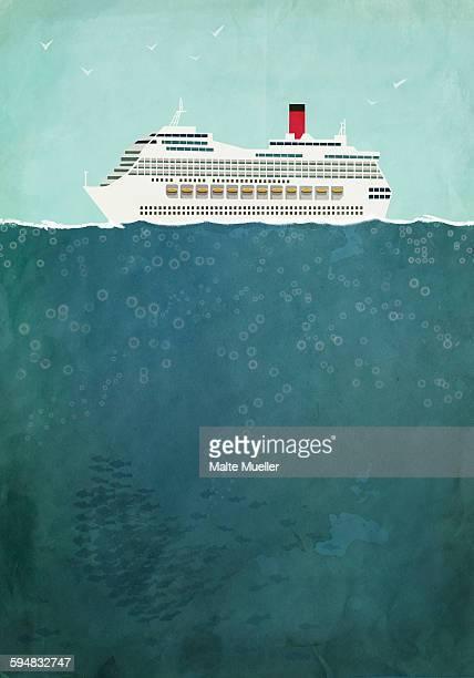 Illustration of cruise ship sailing on sea