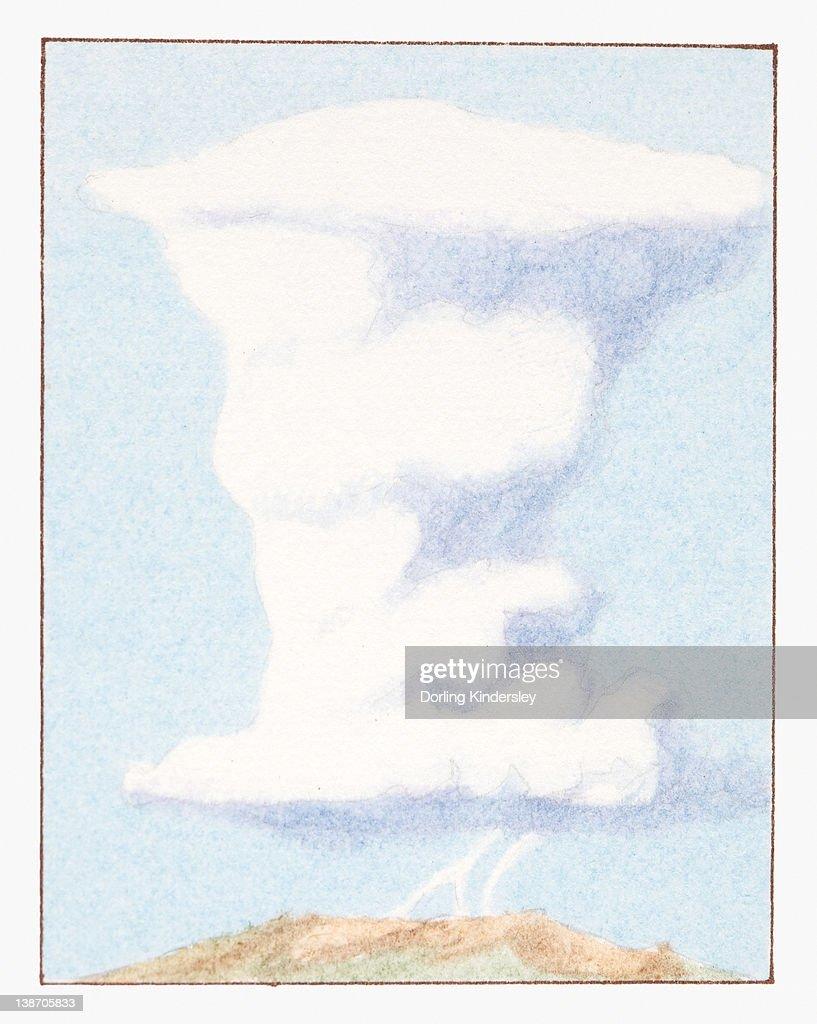 Illustration of cumulonimbus cloud with lightning : stock illustration