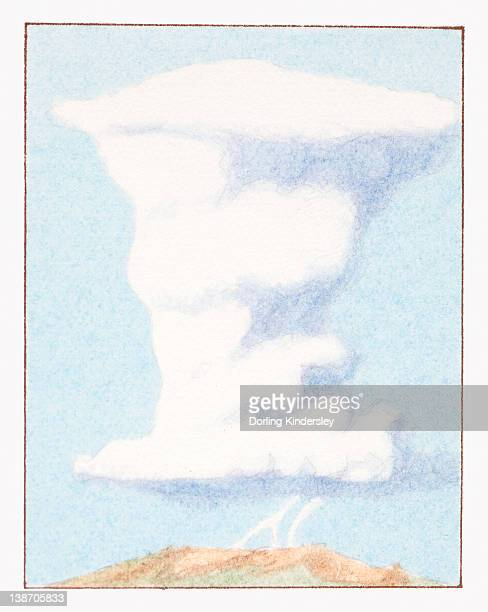 Illustration of cumulonimbus cloud with lightning