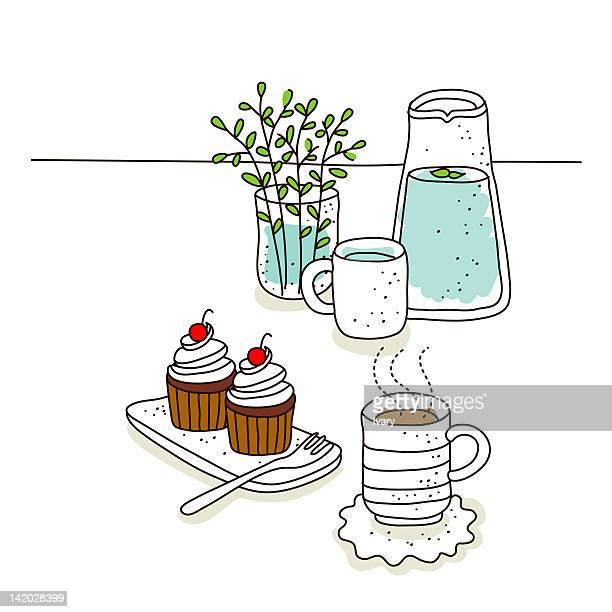 illustration of cupcake during morning breakfast - whipped food stock illustrations, clip art, cartoons, & icons
