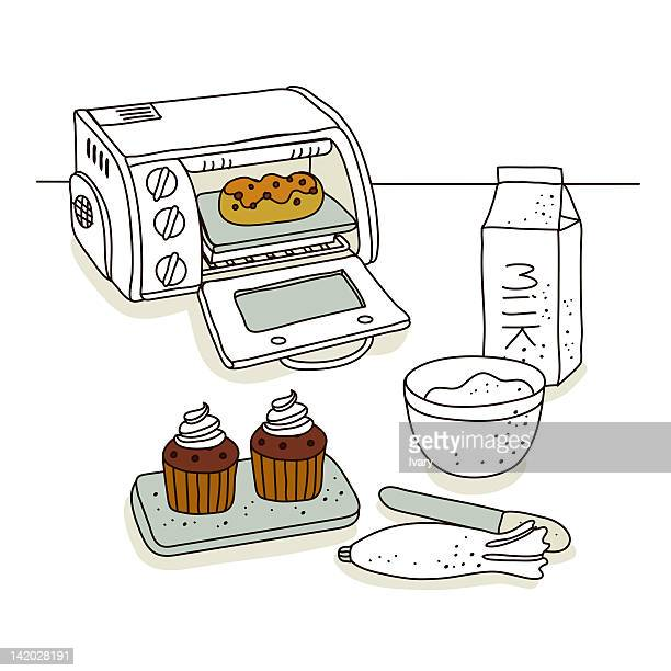 illustration of cupcake with oven and milk carton - making a cake stock illustrations, clip art, cartoons, & icons