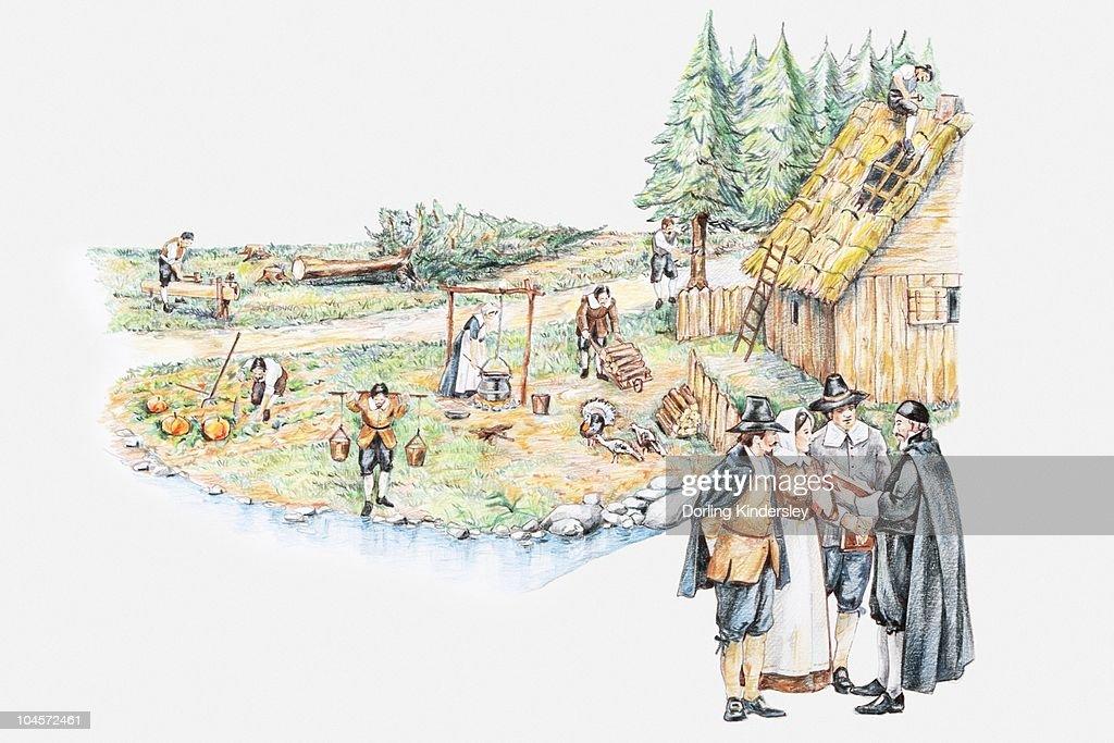 Illustration of daily life of pilgrim settlers and holding prayer meeting in Plymouth Massachusetts : stock illustration
