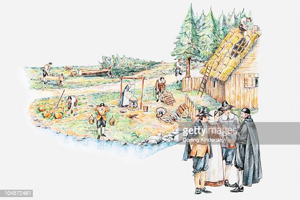 illustration of daily life of pilgrim settlers and holding prayer meeting in plymouth massachusetts - human settlement stock illustrations, clip art, cartoons, & icons