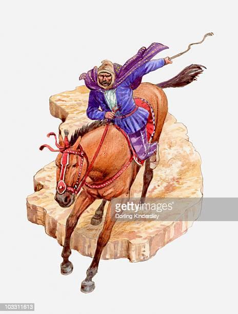 illustration of darius on horseback - ダレイオス1世点のイラスト素材/クリップアート素材/マンガ素材/アイコン素材