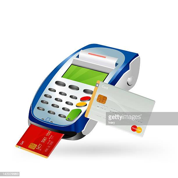 illustration of debit and credit card machine - credit card reader stock illustrations, clip art, cartoons, & icons