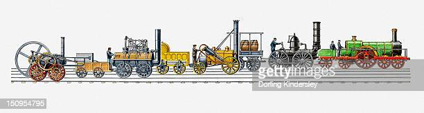 illustration of development of british and american steam trains of the 19th century from 1803 to 1874 - 1874 stock illustrations, clip art, cartoons, & icons