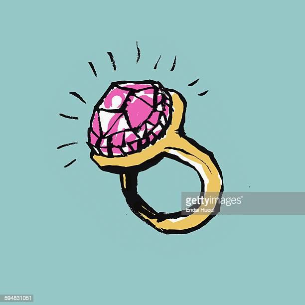 ilustraciones, imágenes clip art, dibujos animados e iconos de stock de illustration of diamond ring on blue background - anillo de compromiso