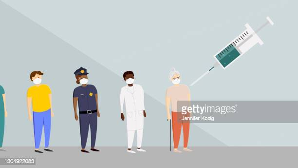 illustration of different people wearing protective face masks getting a vaccine - ultra high definition television stock illustrations