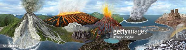 Illustration of different types of volcanic eruptions