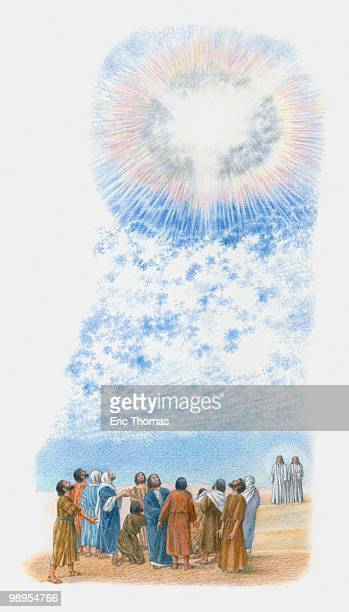 Illustration of disciples standing in group looking towards sky where great cloud emits ray of light from centre