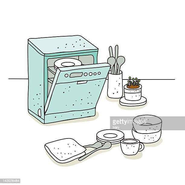Illustration of dishwasher