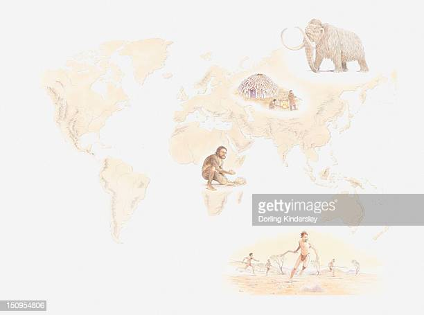 Illustration of distribution early human hunter-gatherers across the world from Mezherich in Ukraine, Mammoth, Lake Mungo settlement in Australia, and Olduvai Gorge, Tanzania
