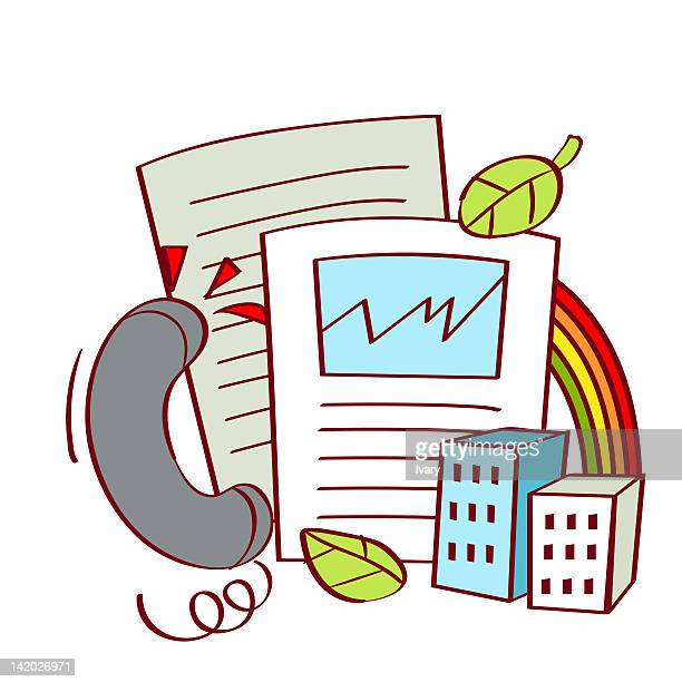 illustration of documents with telephone receiver - phone cord stock illustrations