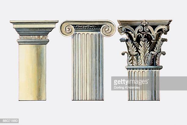 illustration of doric, ionic and corinthian column capitals - corinthian stock illustrations, clip art, cartoons, & icons