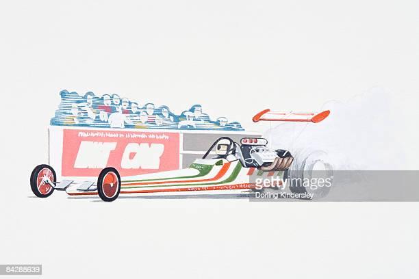 Illustration of drag car on drag racing track