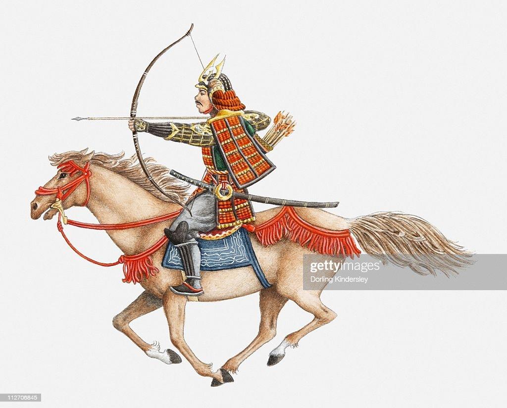 Illustration of early Samurai warrior on horseback, side view : stock illustration