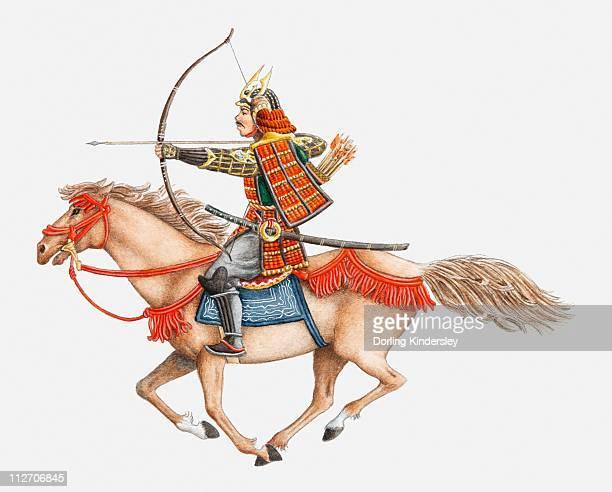 Illustration of early Samurai warrior on horseback, side view