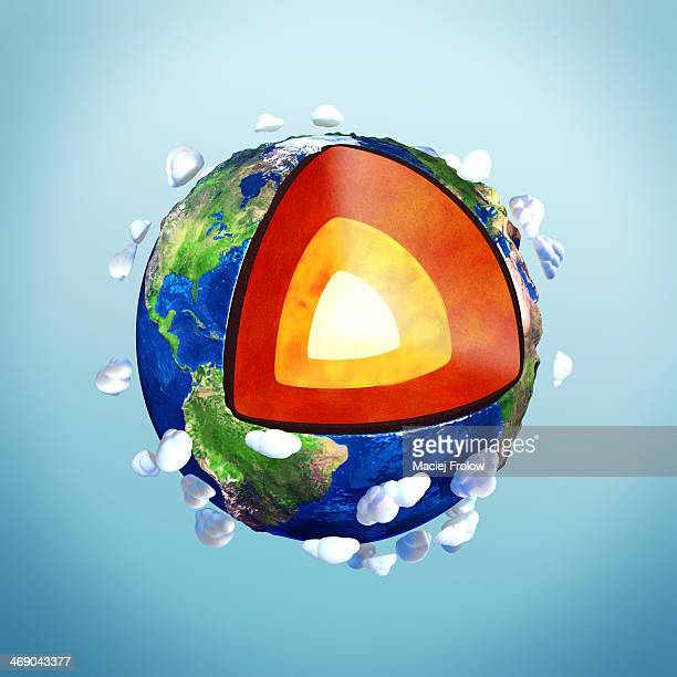 ilustraciones, imágenes clip art, dibujos animados e iconos de stock de illustration of earth's internal structure - corteza terrestre