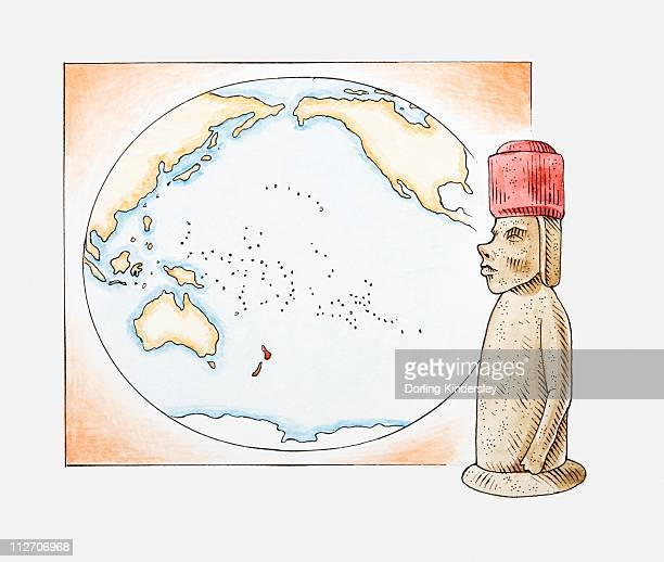 illustration of easter island stone statue in front of a map highlighting polynesian islands and new zealand - easter island stock illustrations, clip art, cartoons, & icons