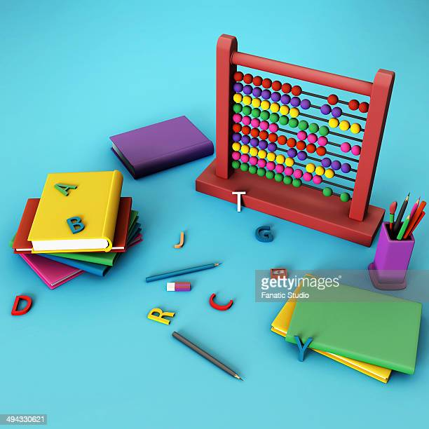 illustration of education equipment - desk organizer stock illustrations, clip art, cartoons, & icons