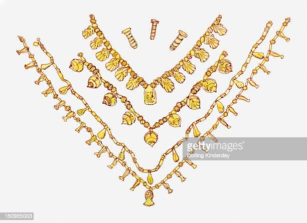 illustration of egyptian necklaces - ancient egypt jewelry stock illustrations