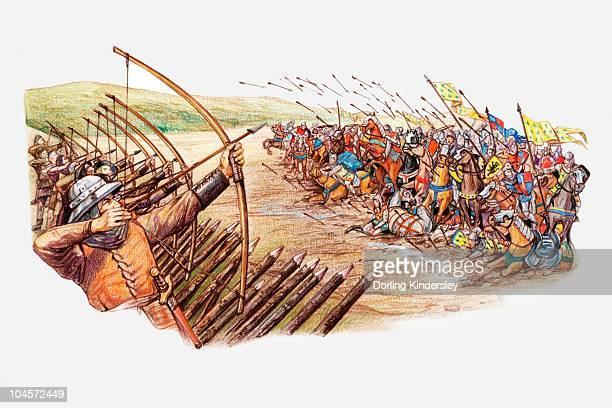 illustration of english and welsh archers using cross bows against attacking french army during hundred years war - hundred years war stock illustrations, clip art, cartoons, & icons