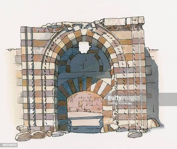 illustration of entrance to kubad abad palace, near aksaray, turkey. - architectural feature stock illustrations, clip art, cartoons, & icons