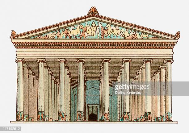 illustration of facade of the temple of artemis in ephesus, turkey - ephesus stock illustrations