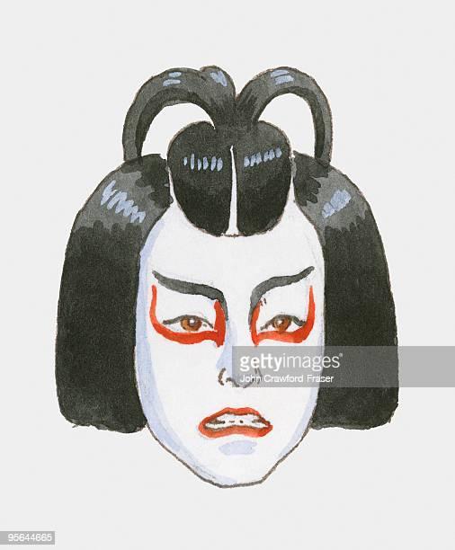 ilustrações, clipart, desenhos animados e ícones de illustration of face of kabuki nobleman - arte, cultura e espetáculo
