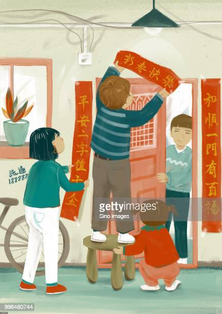 Illustration of family decorating house with Chinese couplets for Chinese New Year