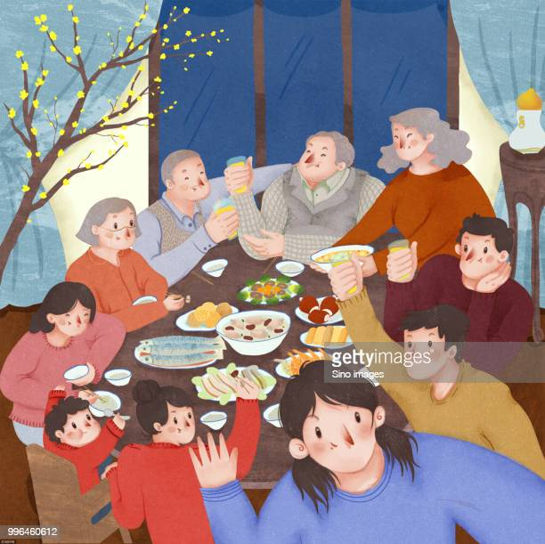 illustration of family reunion dinner party during chinese new year - image stock illustrations
