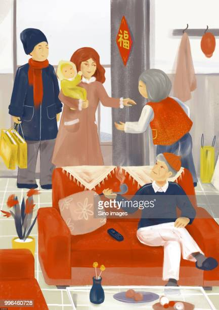 ilustrações de stock, clip art, desenhos animados e ícones de illustration of family visiting grandparents during chinese new year - bebe chegando