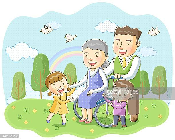 Illustration of family with senior woman