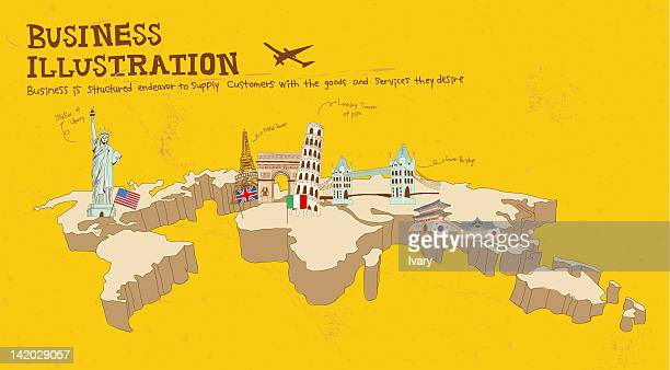 illustration of famous places around world - liberty island stock illustrations, clip art, cartoons, & icons