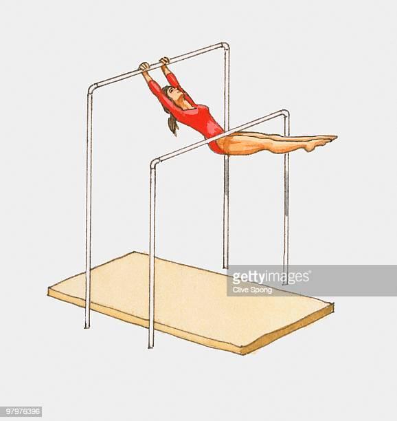 illustration of female gymnast on horizontal bars - one teenage girl only stock illustrations